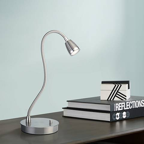 TaskWerx Brushed Steel Flexible Gooseneck LED Task Desk Lamp