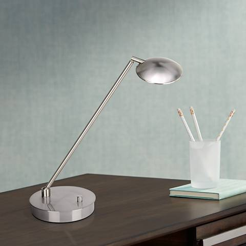 TaskWerx Brushed Steel Adjustable LED Task Desk Lamp