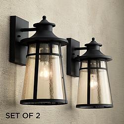 "Clement 15"" High Black Outdoor Wall Lights Set of 2"