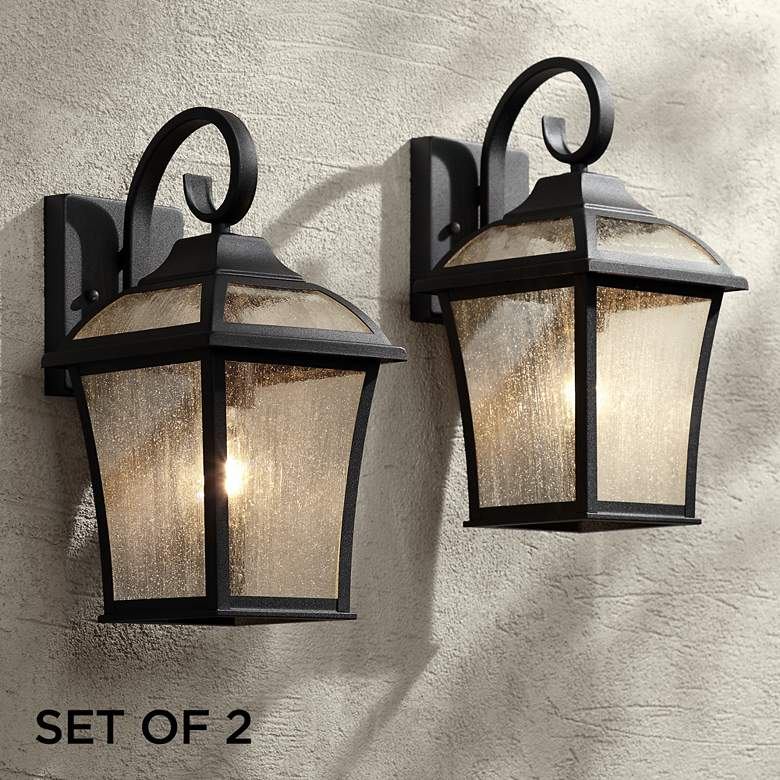 "Mosconi 15"" High Black Outdoor Wall Lights Set of 2"