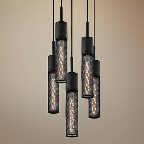 "Sonneman Gotham 12"" Wide Textured Black Multi Light Pendant"