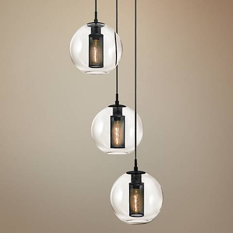 "Sonneman Tribeca 17 1/2""W Textured Black Multi Light Pendant"