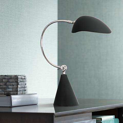 Robert Abbey Rico Espinet Racer Nickel Black Desk Lamp