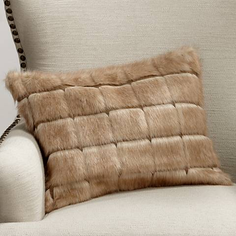 "Adele Warm Brown 20""x14"" Plush Faux Fur Bolster Pillow"