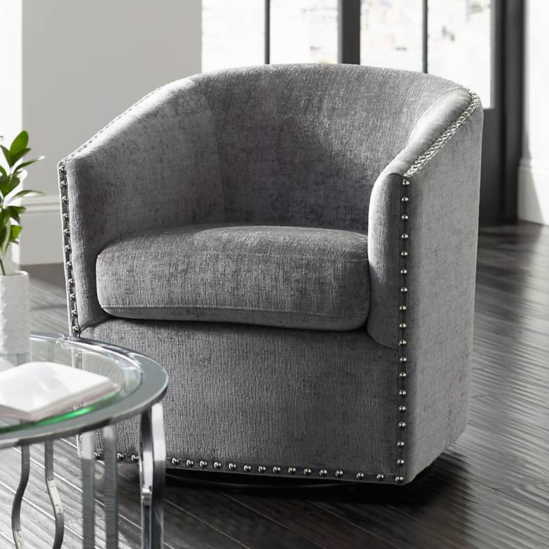Tyler Xandu Gray Melange Fabric Swivel Armchair