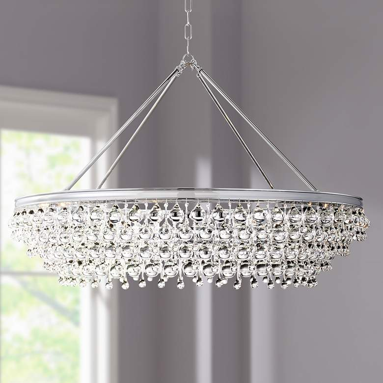"Calypso 40""W Chrome Round Kitchen Island Light Chandelier"