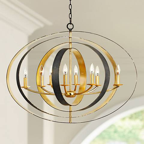 "Crystorama Luna 36"" Wide Bronze and Gold Oval Chandelier"