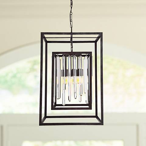 "Crystorama Hollis 31""H Forged Bronze Box Pendant Light"