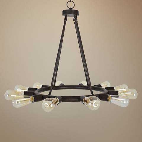 "Crystorama Dakota 23""W Dark Bronze 12-Light Chandelier"