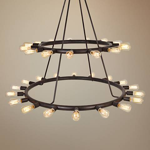 "Crystorama Dakota 42""W Dark Bronze 33-Light Chandelier"