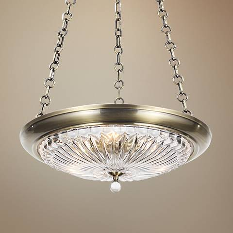 "Crystorama Celina 20"" W Round Brass Glass Pendant Light"