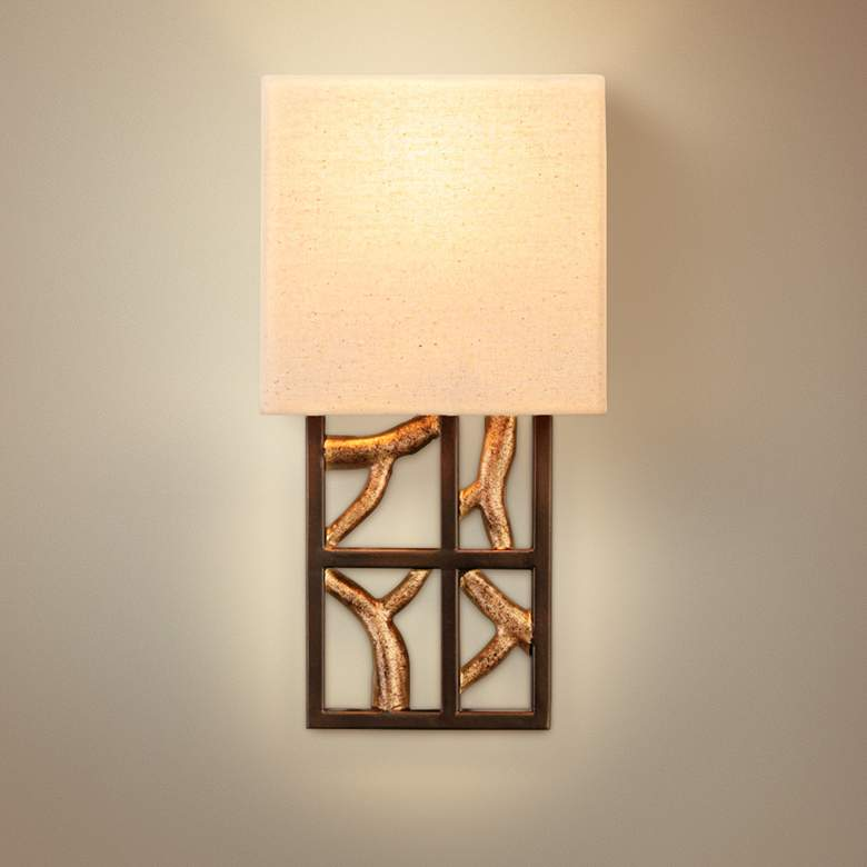"Hudson 13""H 1-Light Bronze Iron Beige Linen Wall"