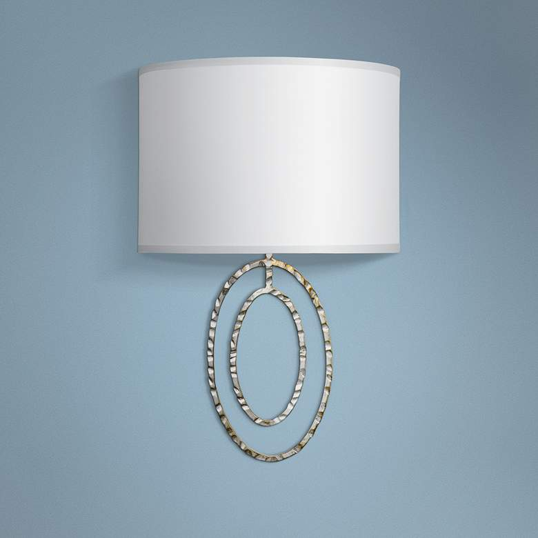 "Crystorama Jolie 13""H 2-Ring Hammered Silver Wall Sconce"