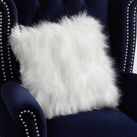 "Fox White 18"" Square Plush Faux Fur Pillow"