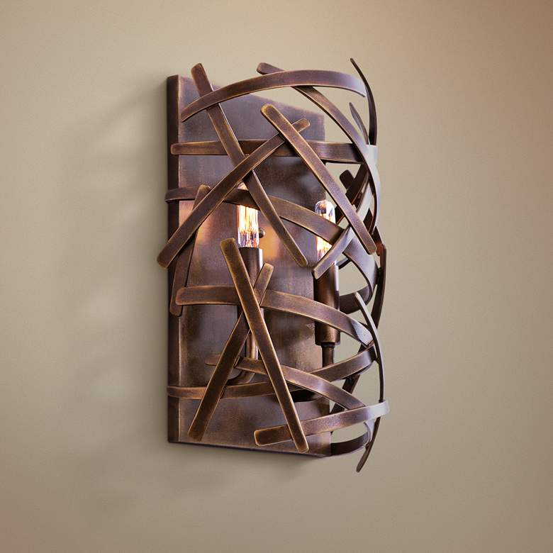"Ambassador 15 1/4""H Copper Patina Abstract Wall Sconce"