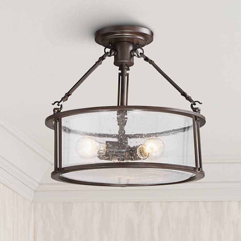 "Quoizel Buchanan 16"" Wide Western Bronze Ceiling Light"