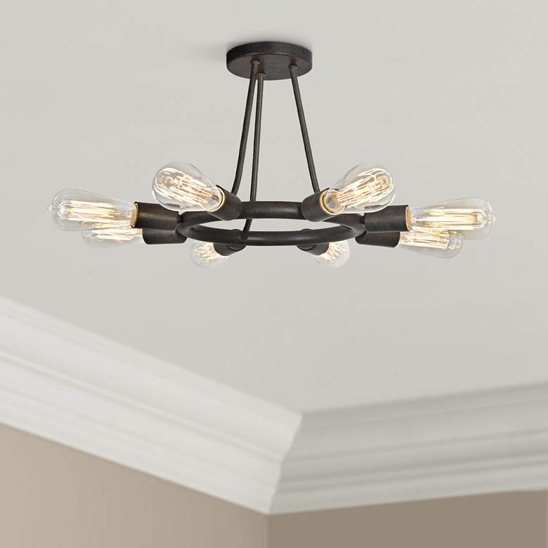 "Dakota 15"" Wide 8-Light Dark Bronze Ring Ceiling Light"