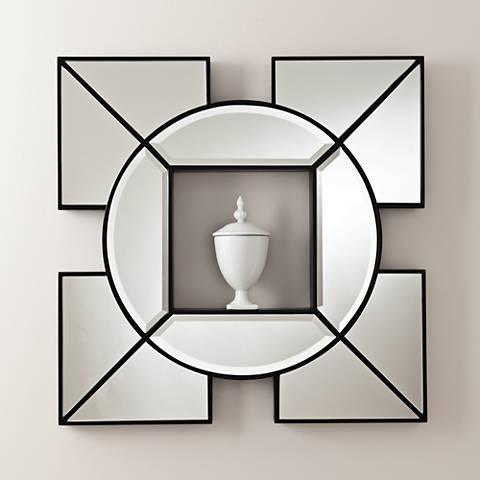 "Arabesque Black Shadow Box 24"" Square Silver Wall Mirror"