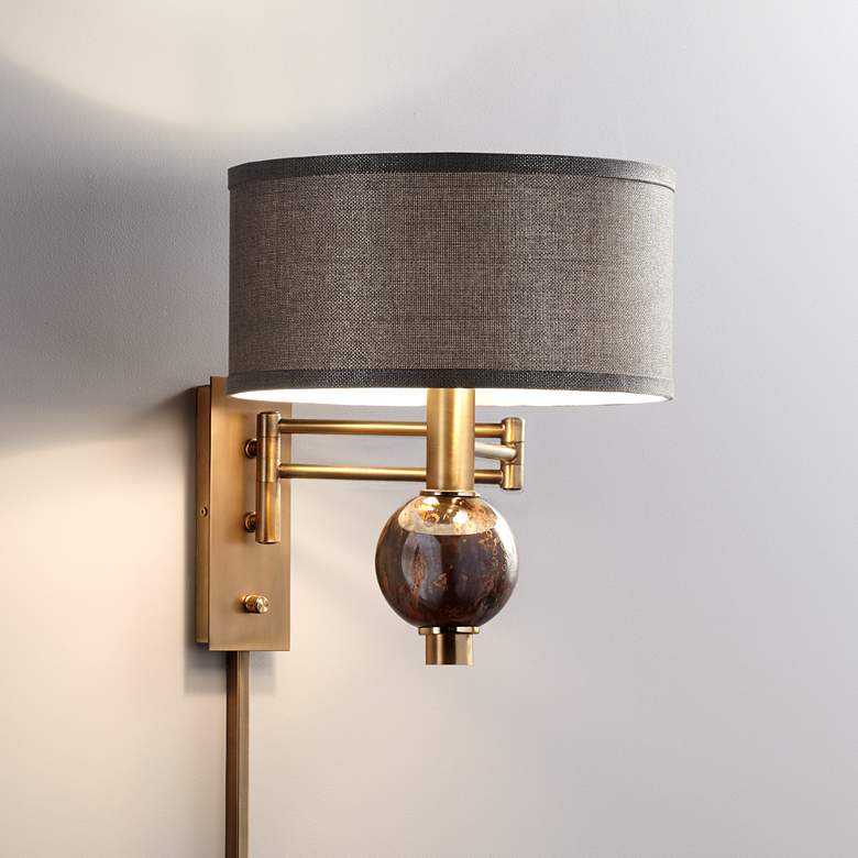 Richford Brass Plug In Swing Arm Wall Lamp With Dimmer