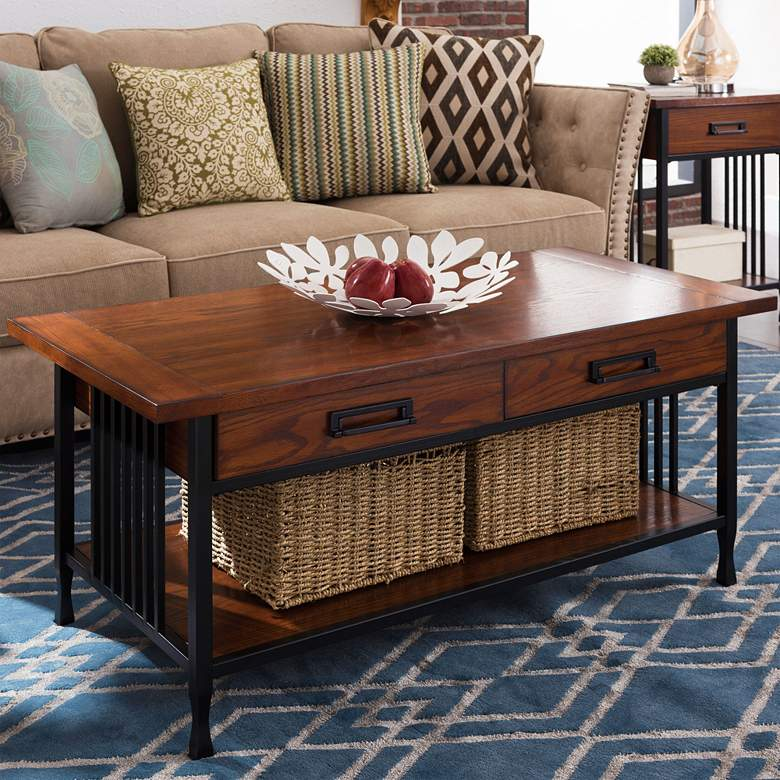 "Ironcraft 46"" Wide Metal and Oak Top 2-Drawer Coffee Table"