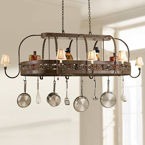 "Sandra Lee Leaf 86""W 11-Light Tuscany Pot Rack Chandelier"