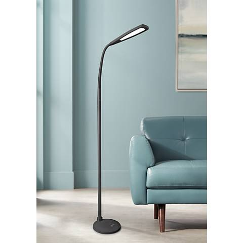 OTT-LITE Felix LED Gooseneck Task Floor Lamp Black