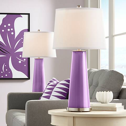 Passionate Purple Leo Table Lamp Set of 2