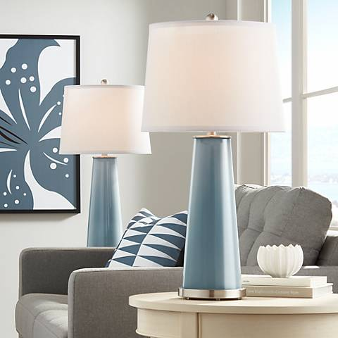 Smoky Blue Leo Table Lamp Set of 2