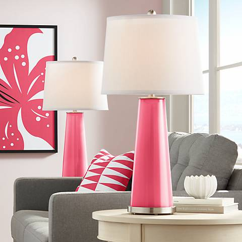 Eros Pink Leo Table Lamp Set of 2