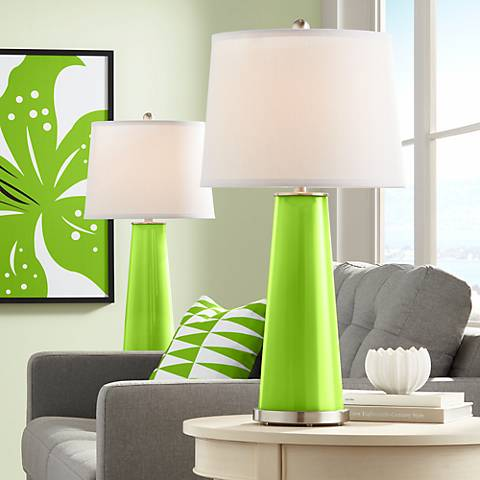 Neon Green Leo Table Lamp Set of 2