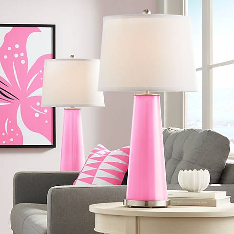 Pale Pink Leo Table Lamp Set of 2