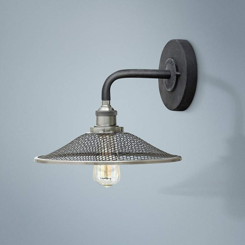 "Hinkley Rigby 8 1/2""H Aged Zinc Barn Light"