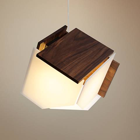 "Cerno Mica L 16"" Wide Oiled Walnut LED Pendant Light"