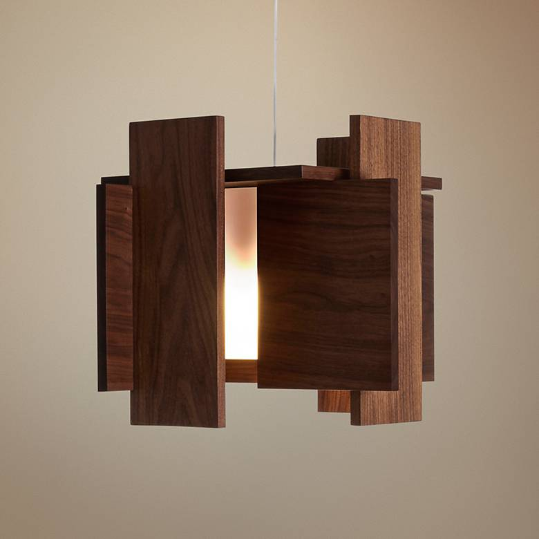 "Cerno Abeo 15"" Wide Oiled Walnut LED Pendant Light"