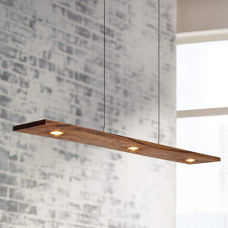 "Cerno Vix 34""W Oiled Walnut LED Kitchen Island Light Pendant"