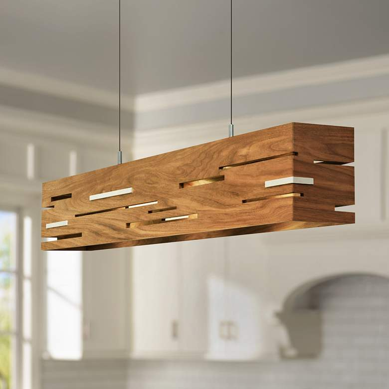 "Aeris 30"" Wide Oiled Walnut LED Kitchen Island Light Pendant"