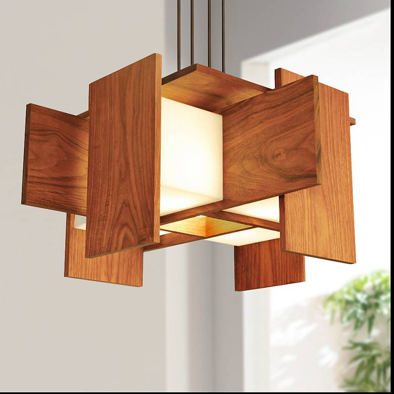 "Cerno Muto 32"" Wide Oiled Walnut LED Pendant Light"