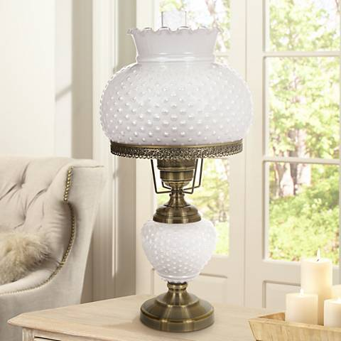 White hobnail glass 26 high hurricane table lamp 1t638 lamps plus white hobnail glass 26 high hurricane table lamp aloadofball Images