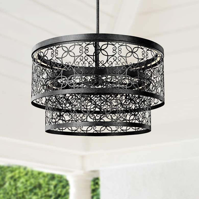 "Feiss Arramore 24""W LED Dark Zinc Outdoor Hanging"