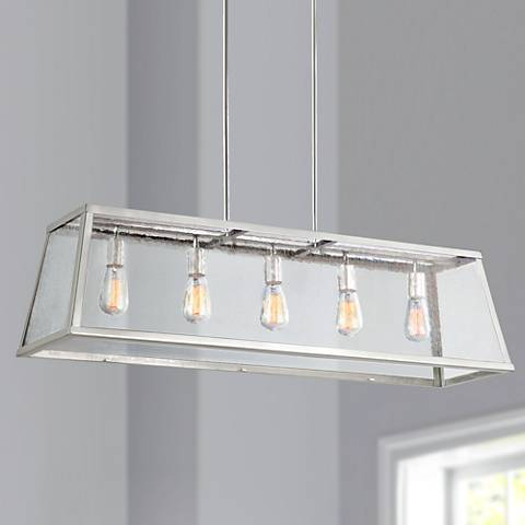 "Feiss Harrow 44""W Polished Nickel 5-Light Island Pendant"