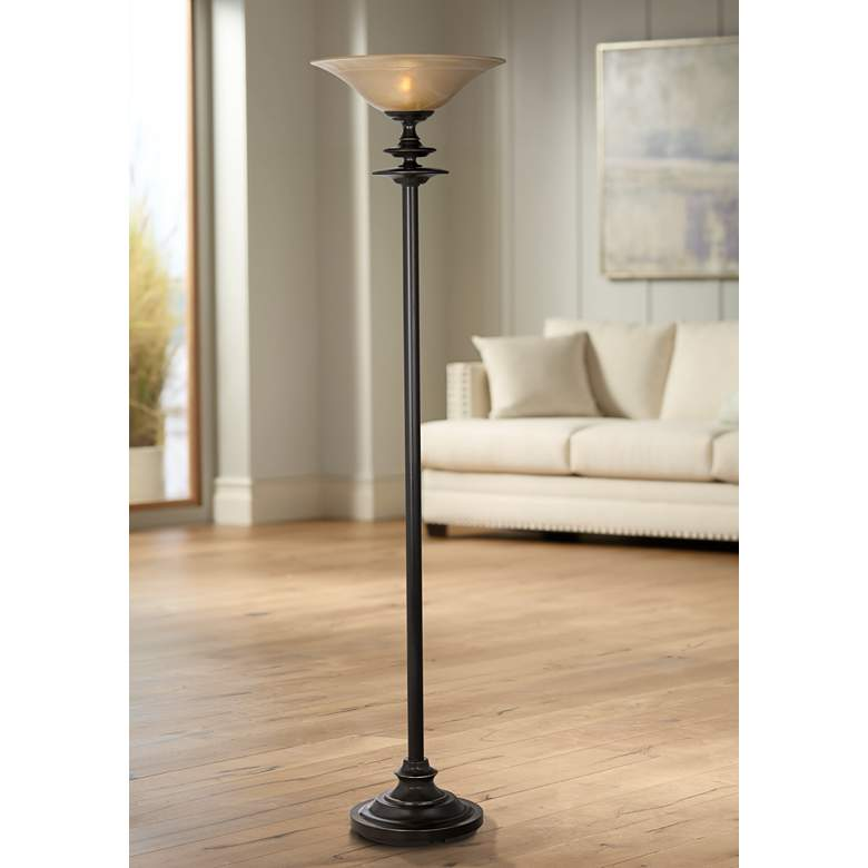 Duetto Oiled Black Bronze Torchiere Floor Lamp