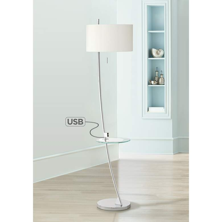 Trezzio Chrome USB and Tray Table Floor Lamp