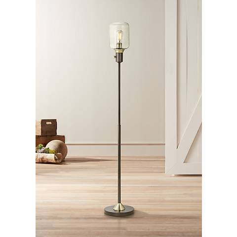 Menlo Lane Black-Bronze Seedy Glass Floor Lamp