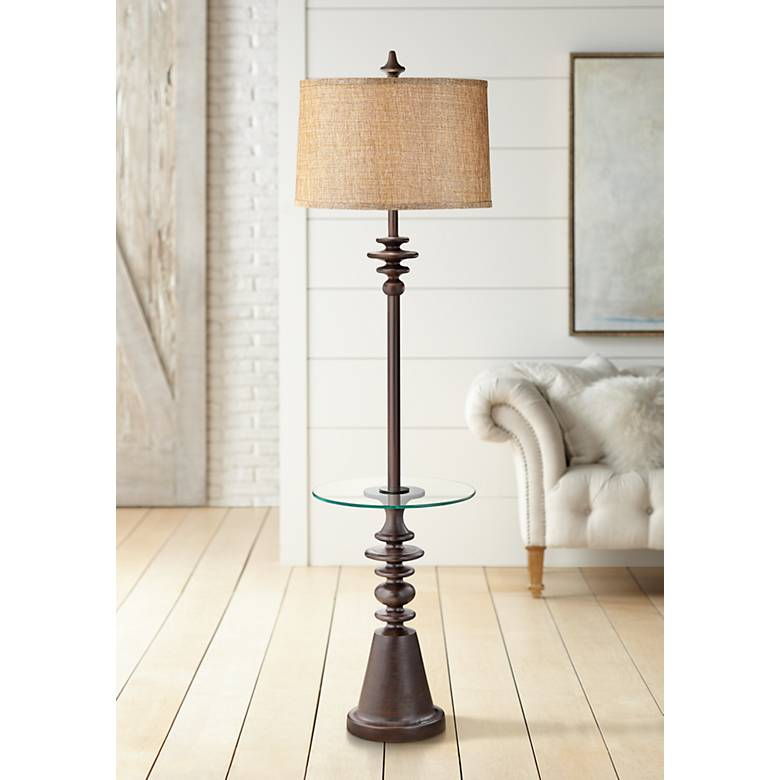 Windermere Espresso Tray Table Floor Lamp