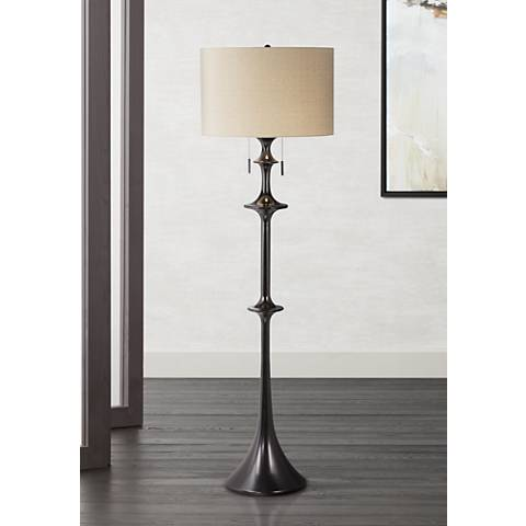 Kathy Ireland Symphony Black 2-Light Floor Lamp