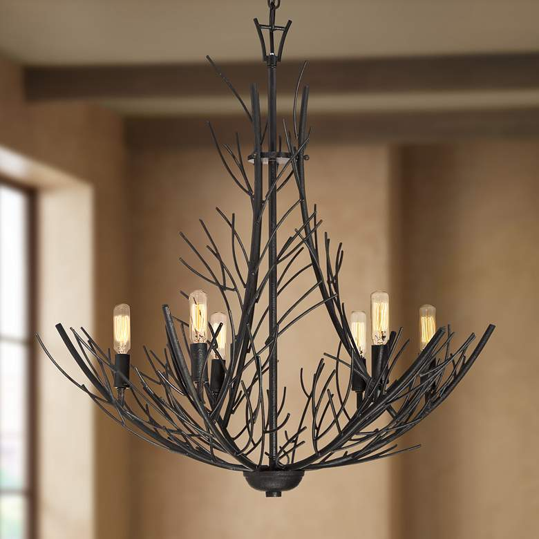 "Quoizel Thornhill 26""W Marcado Black 6-Light Chandelier"