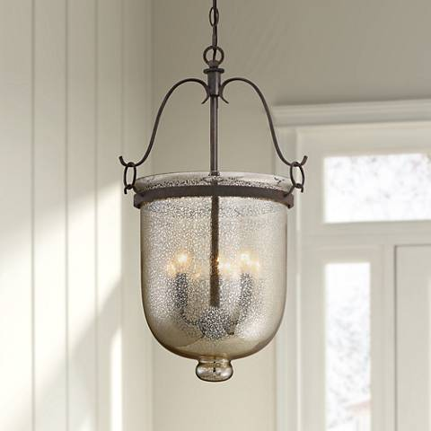 "Quoizel Burgess 15""W Rustic Black 3-Light Foyer Pendant"
