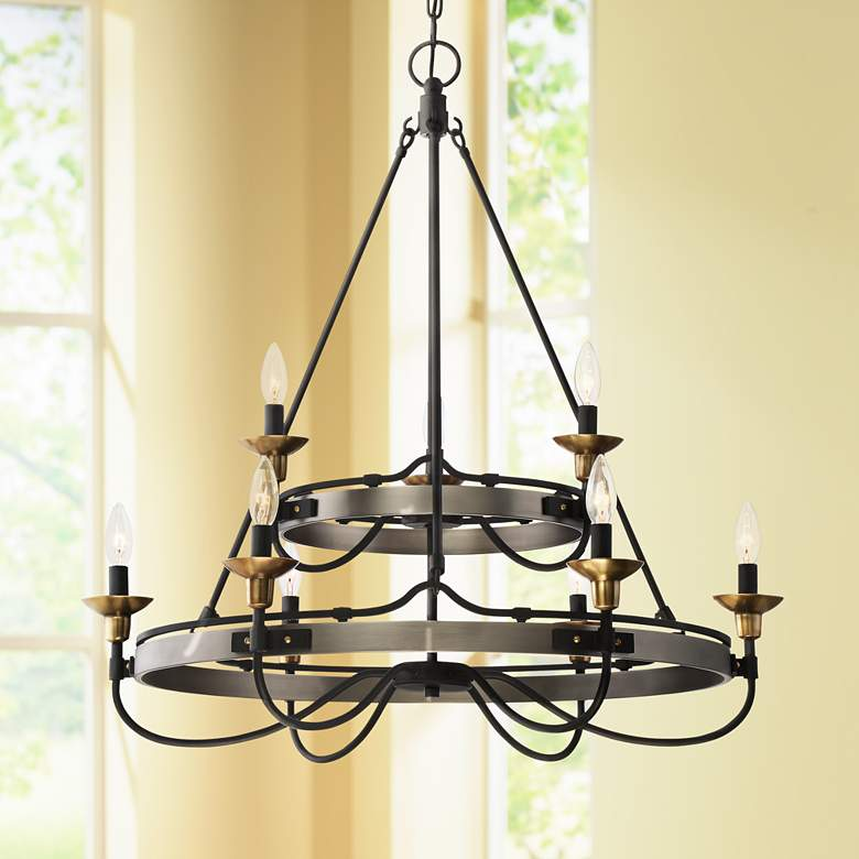 Quoizel Castle Hill 31 W Antique Nickel 2 Tier Chandelier