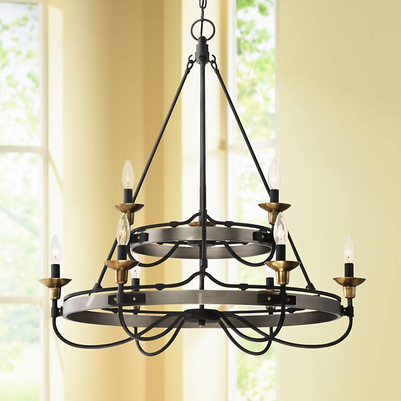 "Quoizel Castle Hill 31""W Antique Nickel 2-Tier Chandelier"