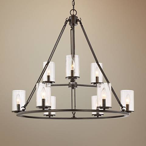 "Quoizel Buchanan 33""W Western Bronze 9-Light Chandelier"